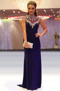 Sheath Beaded Floor-Length High-Neck Cap-Sleeve Jersey Prom Dress