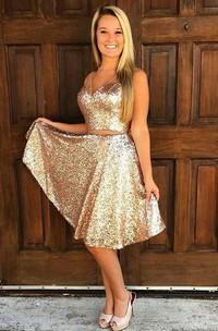 Sleeveless A-line Knee-length V-neck Sash Ribbon Sequins Homecoming Dress