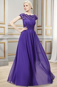 Bateau Cap-sleeve Lace Appliques Jersey Dress With Low-V Back