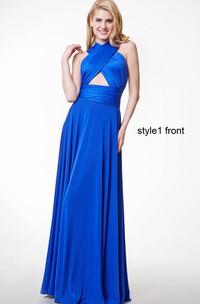 Chiffon Convertible Strapped Pleated Sleeveless Dress