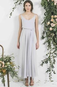 Ankle-Length Sleeveless Spaghetti Pleated Chiffon Bridesmaid Dress