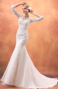 Laced Sweep Train Siren Impressive Half-Sleeve Gown