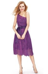 Lace Bow Tea-Length One-Shoulder Gown