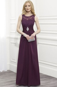Scoop-neck Sleeveless Jersey Dress With central ruching And Appliques