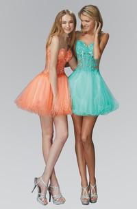 A-Line Illusion Short Mini Tulle Spaghetti Lace Dress