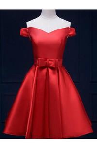 Off-the-shoulder Sweetheart A-line Short Satin Dress