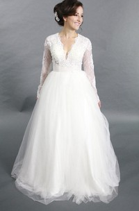 Tulle Rhinestone Wedding Long-Sleeve V-Neckline A-Line Gown