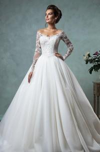 High-Waist V-Neckline Bell Princess A-Line Long-Sleeve Jewel Dress