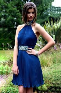A-Line Pleated Backless Mini Sleeveless High-Neck Beaded Formal Dress