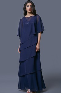 Bateau caped Chiffon tiered Mother of the Bride Dress With Sequins