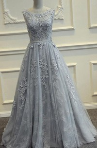 Scoop-Neck Appliqued Sleeveless A-Line Long Gown