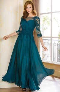 Bateau Illusion 3-4-sleeve Mother of the Bride Dress With Appliques