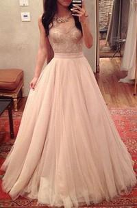Sleeveless Long Tulle Sweetheart A-Line Floor-Length Pleated Dress