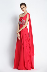 Floor-length A-Line One-shoulder Sleeveless Chiffon Prom Dress with Cascading Ruffles and Draping