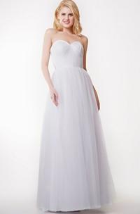 Floor-Length Pleated Tulle Sweetheart Stunning Convertible Dress