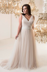 Sleeveless Lace-Up-Back-Waist Long A-Line Jewellery Sweep-Train Dress