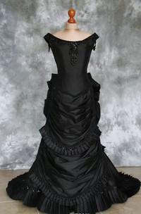Bateau A-Line Short Sleeve Taffeta Floor-length Sweep Train Wedding Dress with Corset Back