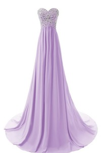 Long Crystal Top Chiffon Sleeveless Sweetheart Floor-Length Gown