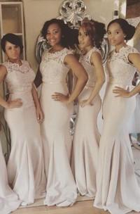 Trumpet Cap Sleeve Lace Newest Illusion Bridesmaid Dress