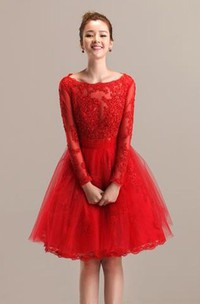 Adorable Lace and Tulle A-line Bateau Knee Length Dress