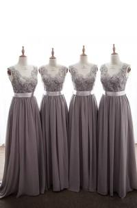 Bohemian V-neck Sleeveless Chiffon Lace A-Line Dress