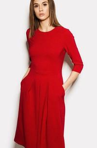 Pleated Pockets Long-Sleeve Scoop-Neckline Dress