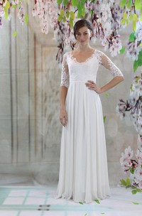 V-Neck Half Sleeve Lace and Chiffon Wedding Dress With Pleats