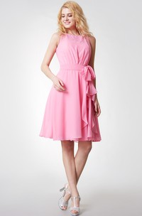 Simple Sleeveless Tiered Short Chiffon Dress With Keyhole