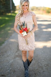 Jewel Illusion Sheath A-Line Lace Cap-Sleeve Dress