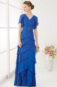 Chiffon Ruffled Short Sleeves V-Back V-Neckline Prom Dress