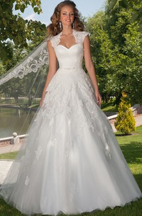 Queen Anne Sweetheart Criss cross Ball Gown Dress With Appliques And Corset Back