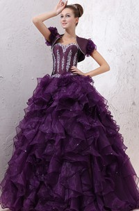 Strapless Crystal Ruffles Organza Quinceanera Dress