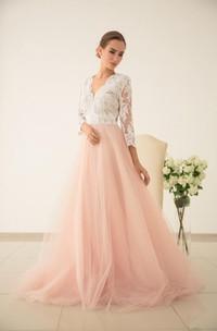 Lace Wedding Sleeved Wedding Tulle Dress