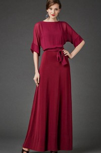 Chiffon Satin Sash Short-Sleeve Bateau-Neckline Dress