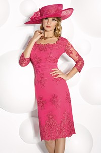 square-neck 3-4-sleeve Pencil Mother of the Bride Dress With Appliques
