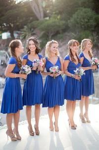 V-Neckline Pleated Short A-Line Chiffon Sleeveless Dress