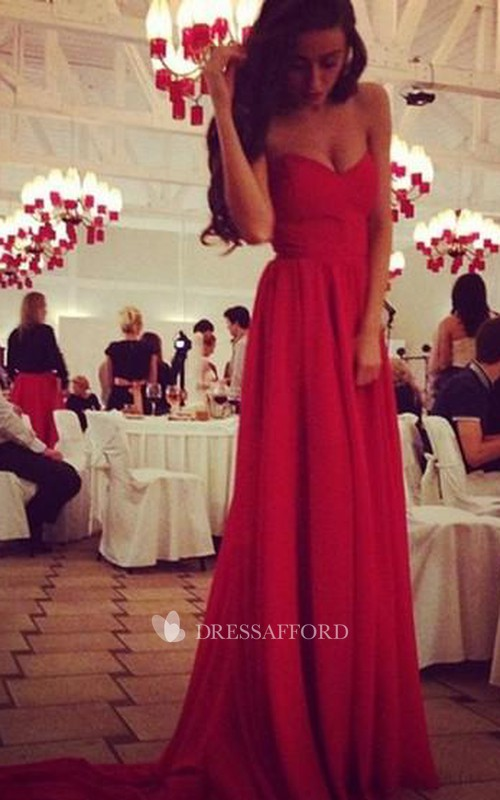Sexy Red Sweetheart Long Chiffon Prom Dress on Sale