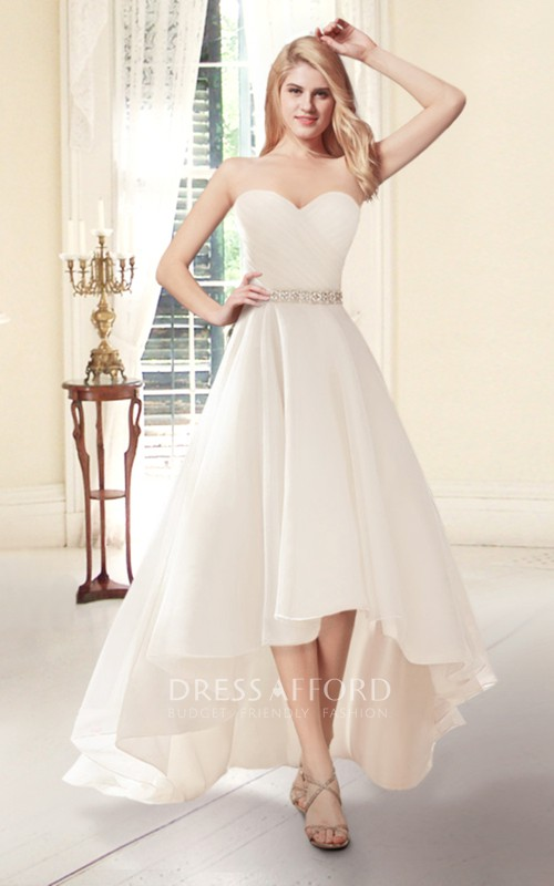 Sweetheart Criss cross Ruched A-line High-low Wedding Dress With Jeweled Waist
