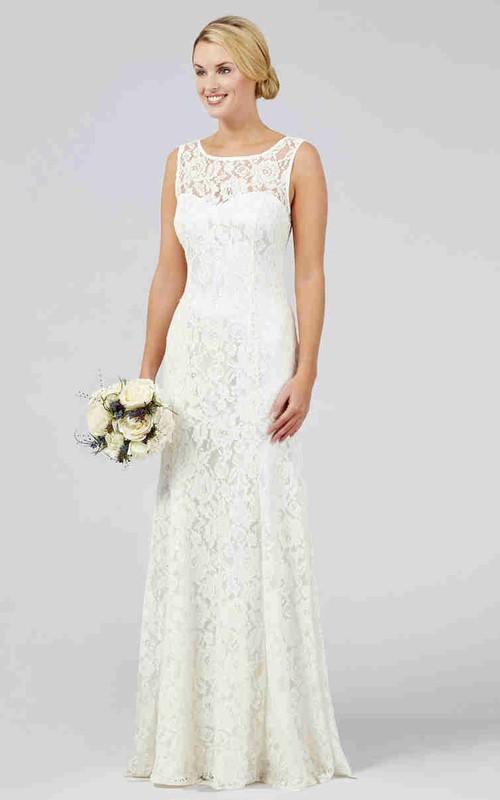Lace Bateau Sleeveless Sheath Dress With Low-V Back