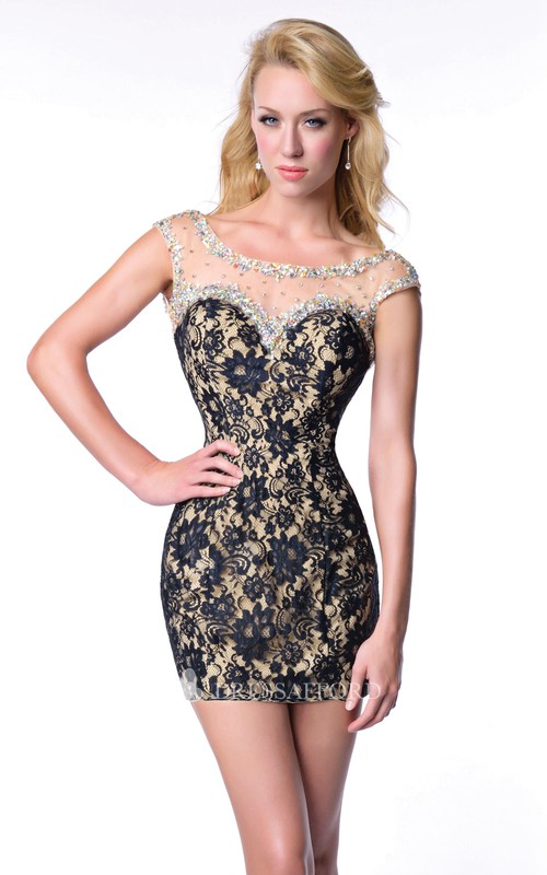 Cap Sleeve Short Sheath Lace Homecoming Dress With Deep V-Back