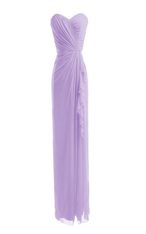 Sweetheart Pencil Long Bridesmaid Dress With side Draping