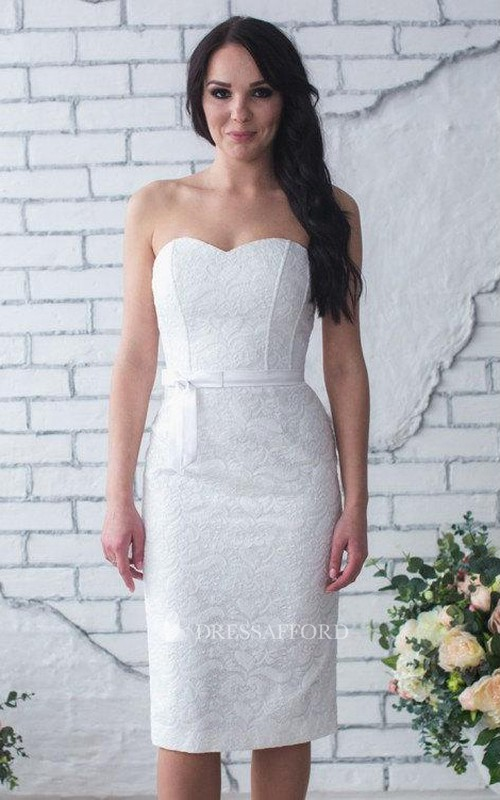 Column Satin Belt Wedding Short Sweetheart Lace Gown