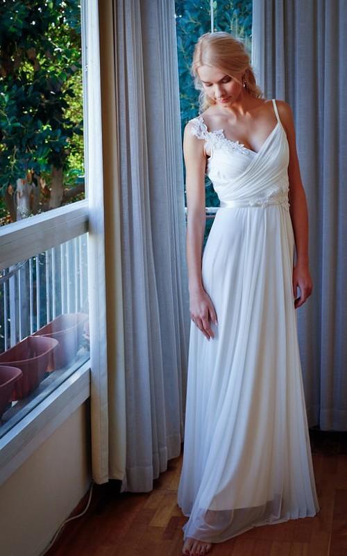 Chiffon Beaded Lace Backless Wedding Dress