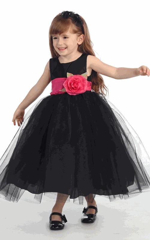 Tulle Tiered Tea-Length Flower Girl Dress