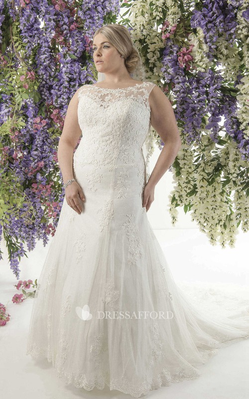 Bateau Mermaid Lace Appliqued plus size wedding dress With Illusion And Sweep Train