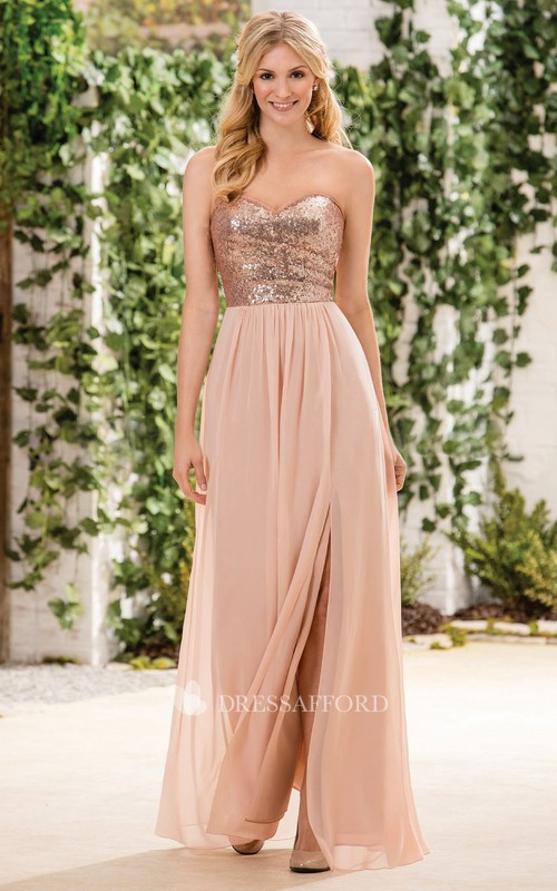 Sweetheart Chiffon Front-split Dress With Sequined top