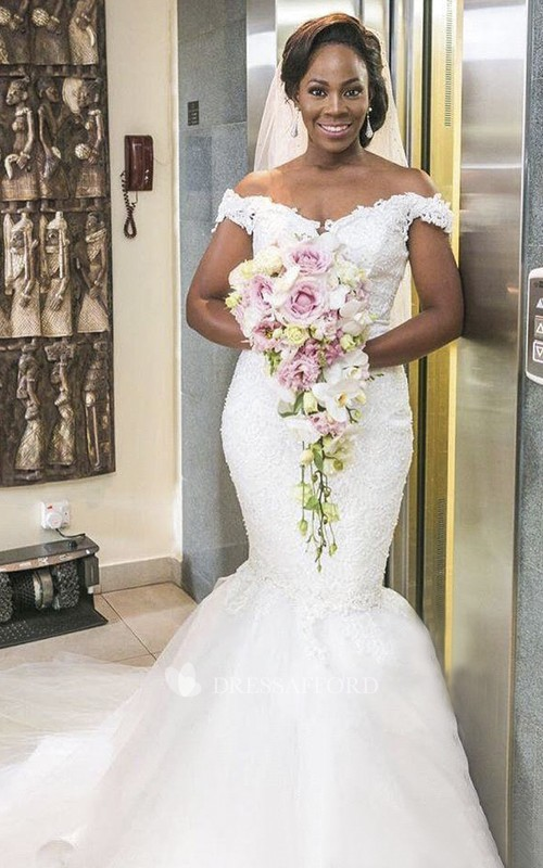 Off-the-shoulder Sexy Mermaid Lace Wedding Dress With Tulle Skirt