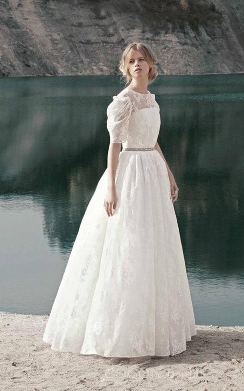 Jewel-Neck Lace Short Sleeve A-line Wedding Dress With Pleats And Jeweled Waist