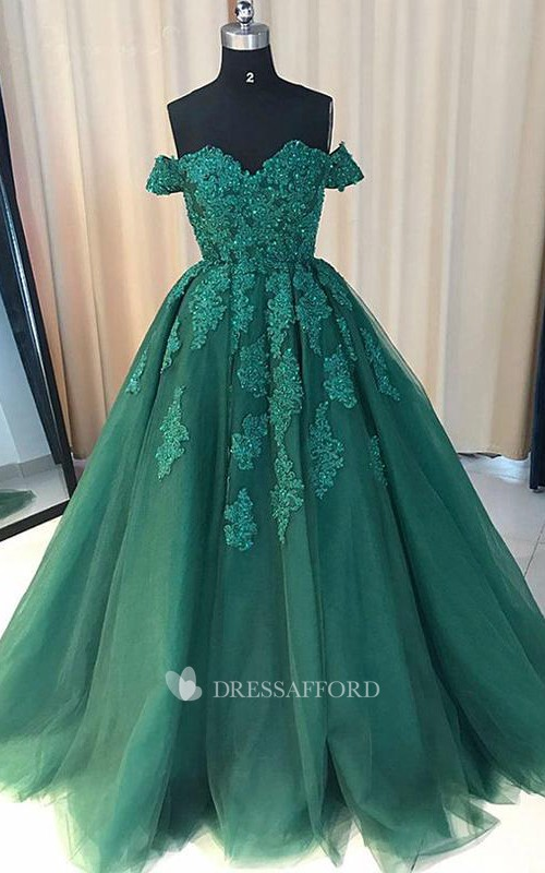 Lace Tulle Short Sleeve Sweep Brush Train Appliques Pleats Embroidery Dress