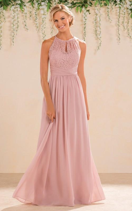 Jewel-Neck Sleeveless Chiffon long Bridesmaid Dress With Lace top